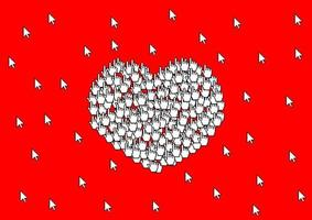 Holiday card many cursors form a sign of love heart symbol on a bright red background vector