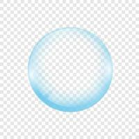 Realistic transparent soap or water bubble. Big translucent glass sphere with glares and shadow. Isolated eps vector transparency orb illustration