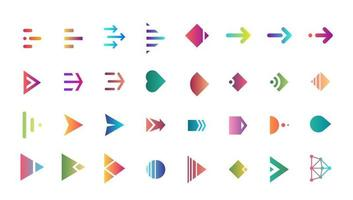 Swipe arrow right gradient button icon set. Application and social network scroll cursor pictogram for web design or app. Vector flat modern next direction pointer interface collection illustration