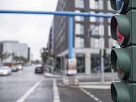 Traffic light in the city at the crossroads. photo