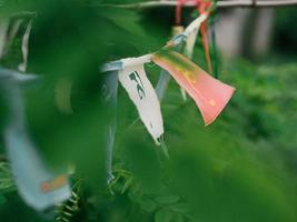 prayer flags with mantra outdoor. tibetan Lungta flags photo