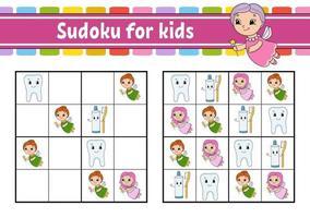sudoku para niños. hoja de trabajo de desarrollo educativo. página de actividades con imágenes. juego de rompecabezas para niños. entrenamiento del pensamiento lógico. ilustración vectorial aislada. personaje divertido. estilo de dibujos animados. vector