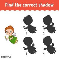 Find the correct shadow. Education developing worksheet. Matching game for kids. Activity page. Puzzle for children. Riddle for preschool. Cute character. Isolated vector illustration. Cartoon style.