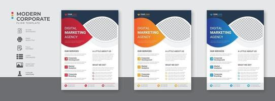 Corporate business digital marketing agency flyer design and brochure cover template vector