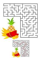 Abstract square maze. Game for kids. Puzzle for children. One entrances, one exit. Labyrinth conundrum. Vector illustration on white background with cartoon picture. With answer.