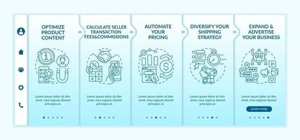 Online market place success onboarding vector template. Responsive mobile website with icons. Web page walkthrough 5 step screens. Expanding business color concept with linear illustrations