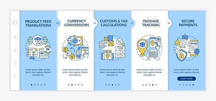 International retailing service onboarding vector template. Responsive mobile website with icons. Web page walkthrough 5 step screens. Secure payments color concept with linear illustrations