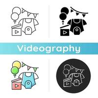 Baby shower party video icon. Newborn gender reveal vlog. Child birth announcement video. Virtual baby shower. Videography. Linear black and RGB color styles. Isolated vector illustrations