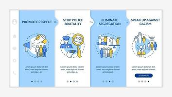 Anti-racism commitment onboarding vector template. Responsive mobile website with icons. Web page walkthrough 4 step screens. Stop police brutality color concept with linear illustrations