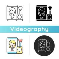 Make up tutorial videos icon. Beauty vlog. Online creator on women style. Beautician blog. Streaming internet video. Videography. Linear black and RGB color styles. Isolated vector illustrations