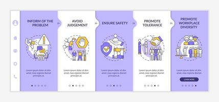 Workplace discrimination onboarding vector template. Responsive mobile website with icons. Web page walkthrough 5 step screens. Promote workforce diversity color concept with linear illustrations