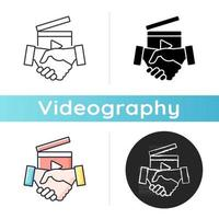 Business to Business videos icon. B2B service in filmmaking industry. Shooting professional content for company. Videography. Linear black and RGB color styles. Isolated vector illustrations