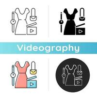 Fashion video icon. Female beauty vlog. Women style for blog content. Shooting footage for clothing and outfit. Videography. Linear black and RGB color styles. Isolated vector illustrations