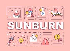Sunburn word concepts banner. Sun exposure. Inflammatory reaction. Infographics with linear icons on pink background. Isolated creative typography. Vector outline color illustration with text