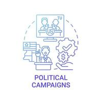 Political campaigns fundraiser concept icon. Membership fees, subscriptions abstract idea thin line illustration. Contribute funds to political allies. Vector isolated outline color drawing