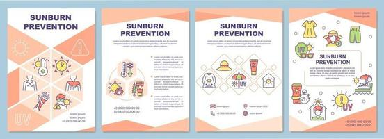 Sunburn prevention brochure template. Skin protection from sun. Flyer, booklet, leaflet print, cover design with linear icons. Vector layouts for presentation, annual reports, advertisement pages