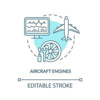 Aircraft engines concept icon. Digital twin application by industry. Modern computers. Smart devices abstract idea thin line illustration. Vector isolated outline color drawing. Editable stroke