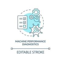 Machine performance diagnostics concept icon. Digital twin tasks. Innovative computers automation abstract idea thin line illustration. Vector isolated outline color drawing. Editable stroke