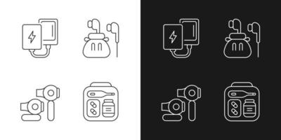 Traveller luggage linear icons set for dark and light mode. Compact powerbank and headphones. Customizable thin line symbols. Isolated vector outline illustrations. Editable stroke