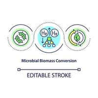 Microbial biomass conversion concept icon. Hydrogen energy usage. Innolvational fuel technologies abstract idea thin line illustration. Vector isolated outline color drawing. Editable stroke