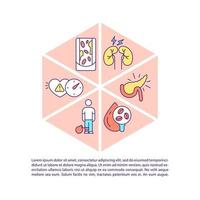 Diabetes concept line icons with text. PPT page vector template with copy space. Brochure, magazine, newsletter design element. Medicaments for ill people help linear illustrations on white