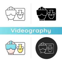 VR icon. Virtual reality for interactive classes. Innovative film production. Headset for immersing in cyberspace. Videography. Linear black and RGB color styles. Isolated vector illustrations