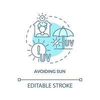evitando el icono del concepto de sol. riesgo de agotamiento por calor que reduce la idea abstracta ilustración de línea fina. prevención del golpe de calor. seguridad en temporada cálida. dibujo de color de contorno aislado vectorial. trazo editable vector