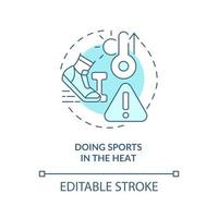 Doing sports in heat concept icon. Heatstroke prevention abstract idea thin line illustration. Stress on body. Choosing less-intense workouts. Vector isolated outline color drawing. Editable stroke