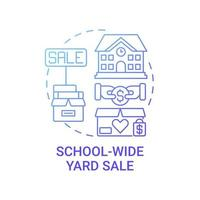 School-wide yard sale concept icon. Fundraising appeal abstract idea thin line illustration. Selling baked goods and refreshments. Search for bargains. Vector isolated outline color drawing