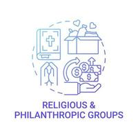 Religious and philanthropic groups concept icon. Fundraising abstract idea thin line illustration. Collecting money. Missions based on religious values. Vector isolated outline color drawing