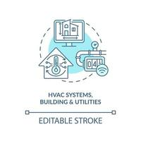 HVAC systems buildings and utilities concept icon. Digital twin application industry. Modern technologies abstract idea thin line illustration. Vector isolated outline color drawing. Editable stroke