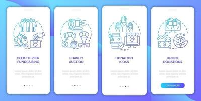 Collecting money event ideas onboarding mobile app page screen. Online donations walkthrough 4 steps graphic instructions with concepts. UI, UX, GUI vector template with linear color illustrations