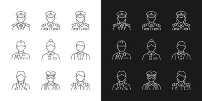 Ship staff linear icons set for dark and light mode. Providing services customers need. Controlling ocean trip. Customizable thin line symbols. Isolated vector outline illustrations. Editable stroke