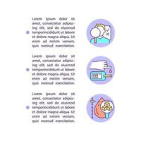 Diagnosing diabetes concept line icons with text. PPT page vector template with copy space. Brochure, magazine, newsletter design element. Types of diseases linear illustrations on white