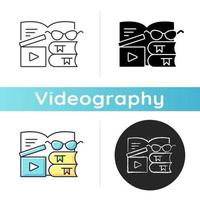 Book review videos icon. Shooting content for literature vlog. E book online. Filmmaking for literary blog. Videography. Linear black and RGB color styles. Isolated vector illustrations