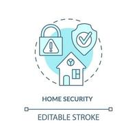 Home security concept icon. Summer vacation safety abstract idea thin line illustration. Keep family safe. Security system installation. Vector isolated outline color drawing. Editable stroke