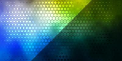 textura de vector azul claro, amarillo con círculos.