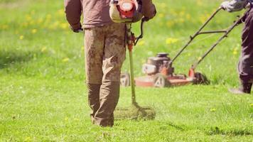 Jardinero profesional cortando el césped en la propiedad de Central Park con desbrozadora de gasolina foto