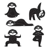 Sloth sports yoga, black stencil, print design, print sticker design vector