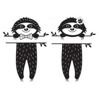 Cute Sloth Character Boy and Girl, with Text Separator Black Stencil Monogram Isolated Vector