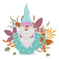 a cheerful dwarf sits in a mug with a warm drink on the background of autumn leaves, vector isolated illustration