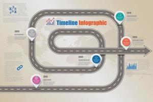 Mapa de señales de tráfico de negocios infografía de línea de tiempo diseñada para plantilla de fondo abstracto elemento de hito diagrama moderno tecnología de proceso marketing digital presentación de datos gráfico ilustración vectorial vector