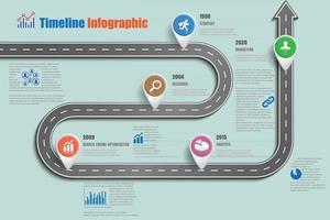 Iconos de infografía de línea de tiempo de hoja de ruta de negocios diseñados para plantilla de fondo abstracto tecnología de proceso de diagrama moderno ilustración de vector de gráfico de presentación de datos de marketing digital