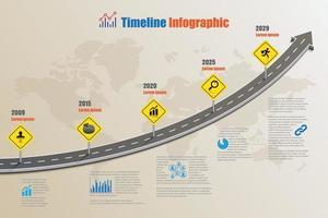 Plantilla de infografía de línea de tiempo de hoja de ruta empresarial con diseño de señal de tráfico para fondo abstracto hito diagrama moderno tecnología de proceso marketing digital presentación de datos gráfico ilustración vectorial vector