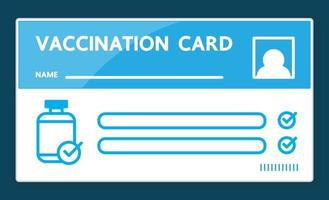 Vaccination card design on blue background. vector