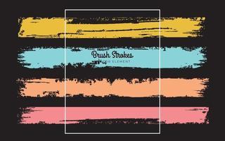 Set of brush vector grunge texture on the black background. brush Vector illustration