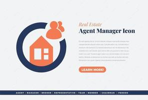 real estate agent manager icon design vector