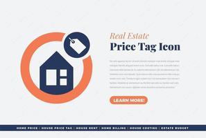 diseño de etiqueta de precio de bienes raíces vector