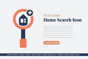 real estate home search icon design vector