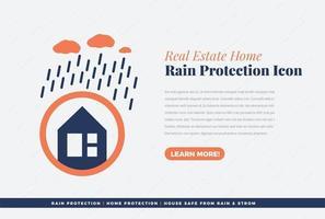 real estate home rain protection icon vector